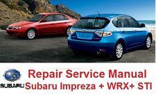 SUBARU IMPREZA 2008 09 10 2011 OFFICIAL SERVICE REPAIR MANUAL INCL. STI