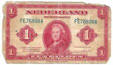 1943 Netherlands Dutch Een Gulden 1 Bank Note   FR768564