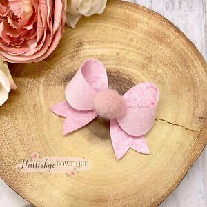 Pom Pom Bow, Pink Glitter Bow