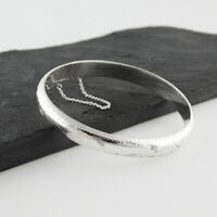 Diamond Cut Bangle Bracelet with Chain - 925 Sterling Silver - High Shine Finish
