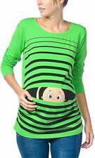 Size S Pregnancy Maternity top T-Shirt Baby peekaboo Green Stripe long sleeve