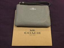 NWT Coach F58032 Corner Zip Wristlet Wallet Crossgrain Leather Heather Grey $78