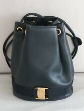 Salvatore Ferragamo Navy Vara Logos Texture Leather Mini Backpack Bucket Bag