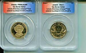 2008-P/S Van Buren Presidential Dollar - ANACS MS67/PR69