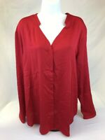 NWT Ann Taylor Women's Red Polyester Long Sleeve Button Down Blouse Sz 18