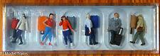 Preiser HO #10640 Walking Travelers w/Rolling Suitcases -- 3 Men, 3 Women, 6 Sui