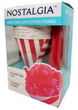 Nostalgia Snow Cone Cups And Spoon Straws 20 Each Tamper Sticker Intact Sealed