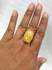 Beautiful sterling 925 Egg Yolk Amber ring size 8.5 Adjustable