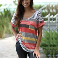 Striped T-shirt for Women V-neck Blouse Summer Short-sleeve Loose Plus Size