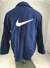 Vintage Nike Gray Tag Front zip snap lined Embroidered Jacket mens M Navy white
