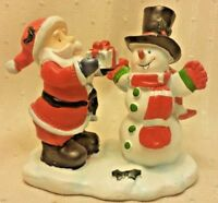 "Vintage Santa & Snowman Resin 4""x4"" Holiday Christmas Winter Decor Ornament"