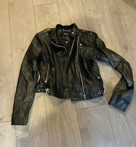 Black Faux Leather Biker Jacket Guess 8