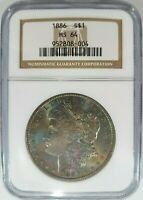 1886 Silver Morgan Dollar NGC MS 64 Monster Rainbow Toner Toned Toning Obverse