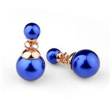 DOPPIO perle blu reale 2-in-1 ORECCHINI CHIUSURA A FARFALLA XL BLOGGER MUST HAVE