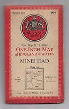 Ordnance Survey One Inch Map = Minehead = Sheet 164 = {Cloth Edition} =