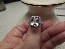 LIGHT GREEN AMETHYST & WHITE SAPPHIRE RING IN STERLING SILVER - SIZE 8