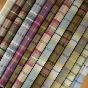 Porter + Stone Wool Effect Balmoral Tartan Plaid Curtain Upholstery Fabric