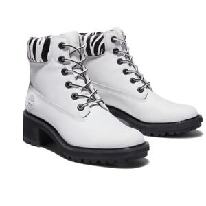 Timberland Leather White Waterproof Combat Boot with Calf Hair Trim NWT 7.5