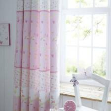 Girls Pink Butterfly & Flowers Lined Curtains 167 x  183 cm 100% Cotton