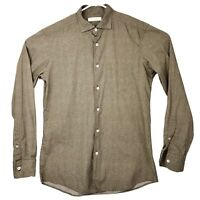 Ermenegildo Zegna Shirt Mens Medium Trim Fit Long Sleeve Button Front Brown