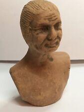 Statuette ancienne en terre cuite buste figurine visage femme époque 19 ème
