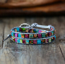Gemstone Beaded Friendship Wrap Bracelet Turquoise Pink Leather Agate