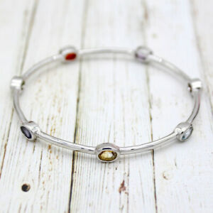 7 Chakra Multi Stone Fine Bangle Bracelet S925 Sterling Silver Everyday Wear
