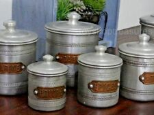 Genuine FRENCH Antique Set of 6 Copper & Aluminium Cannisters Coffee Sugar Spice
