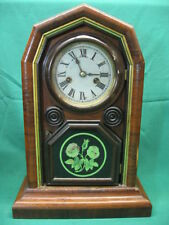 Antique Welch 1870's Shelf Mantel Clock for Parts or Repair Mainspring Broken