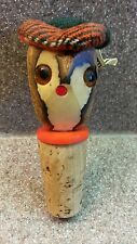 VINTAGE HAND CARVED WOOD OWL WINE BOTTLE CORK STOPPER FROM SCOTLAND