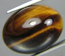 LARGE 25x18mm OVAL CABOCHON-CUT NATURAL GOLDEN TIGERS EYE GEMSTONE