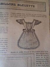 """PATRON ORIGINAL POUR LA POUPEE """" BLEUETTE """"  TABLIER COQUET MAI 1906"""