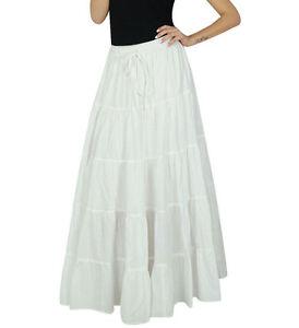 Bimba Womens Long Flaired Cotton Skirt White Boho Maxi Bottoms Elastic Waist