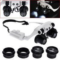 Stirnband LED Lupe Scheinwerfer Mikroskop Schmuck Uhr Reparatur W2T2 J2