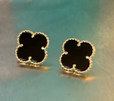 Fine Solid 14K Gold Natural Black Onyx Clover Stud Earrings
