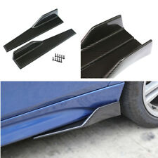 2PCS Carbon Fiber Car Side Skirt Rocker Splitters Shovel Protect Anti Scratch