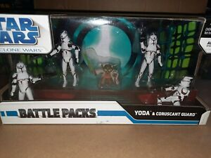Star Wars The Clone Wars Yoda And Coruscant Guard Battle Packs