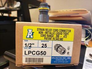 """Arlington 1/2"""" Strain Relief Cord Connector Liquid Tight - 25/box"""