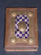 Sehr schönes antikes Lederbuch für alte Fotografien mit Messingapplikationen