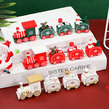 Wooden Christmas Train Ornament Xmas Decoration Santa Claus Gift Toys Table Deco