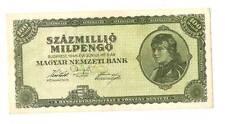 1946 Hungary Hyper Inflation 100.000.000 milpengo  / 100000000000000 pengo