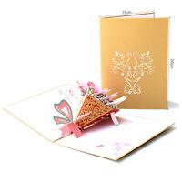 3D Pop Up Greeting Card Birthday Wedding Valentine Mother's Day Magnolia Bouquet