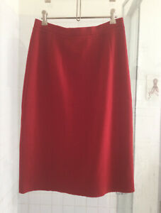 Vintage 1960's Red A-line 100% Wool Winter SPANGARO Knit SKIRT Lined Size 12