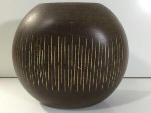 Wooden Vase Midcentury Flat  Curved Striped Vase Scandi Style