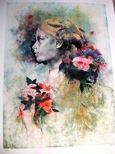 """VESPIGNANI  RENZO - """"Ragazza tra i fiori"""" - lito e ceramolle"""