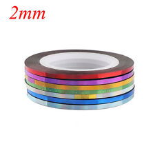 7 Rolls Holographic Nail Stripe Tapes Set Laser Adhesive Line DIY Decal Stickers 2mm