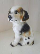 Adorable Vintage Ceramic Dog Figurine Black Brown Cream Sitting Porcelain Puppy