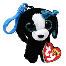 "TY Beanie Boos 3.5"" TRACEY the Dog Plastic Key Chain Clip MWMT's w/ Heart Tags"