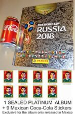 9 COCA COLA STICKERS PANINI FIFA CUP RUSSIA 2018 PLATINUM HARDCOVER ALBUM MEXICO