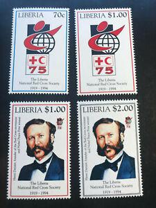 Liberia 1994 Satz Rotes Kreuz Henri Dunant Nobelpreis Frieden 1901 MNH